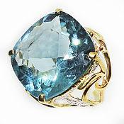 Украшения handmade. Livemaster - original item Author`s ring made of 925 silver with large blue quartz and gold plating. Handmade.