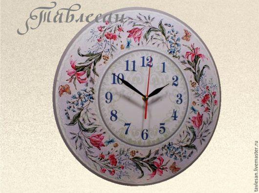 """Часы для дома ручной работы. Ярмарка Мастеров - ручная работа. Купить Часы настенные """"Первоцветный романс"""" круглые в стиле прованс. Handmade."""