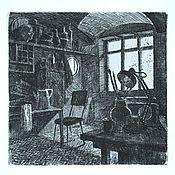 """Картины и панно ручной работы. Ярмарка Мастеров - ручная работа Картина  """"Мастерская художника"""" офорт черно-белая графика гравюра. Handmade."""