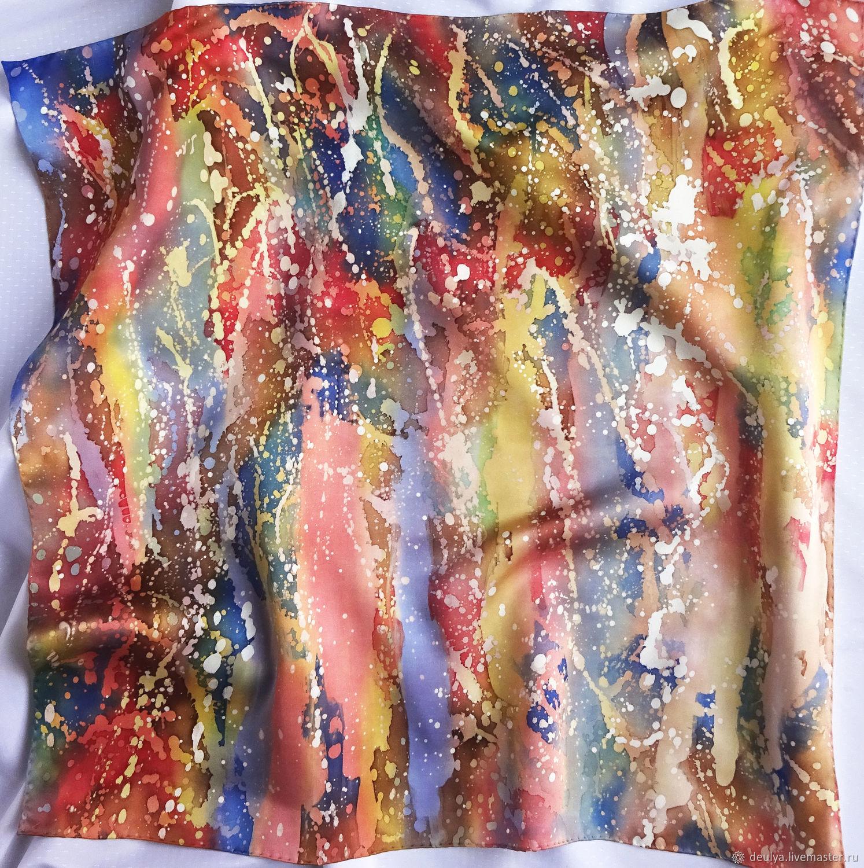 Batik, silk handkerchief ' Multicolored splashes», Shawls1, Moscow,  Фото №1