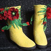 """Обувь ручной работы. Ярмарка Мастеров - ручная работа Валенки """" Мак """" ручной валки. Handmade."""