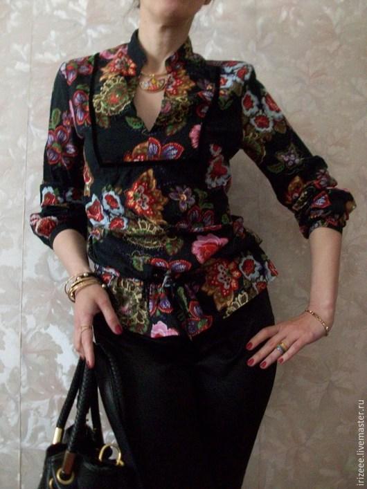 Блузки ручной работы. Ярмарка Мастеров - ручная работа. Купить Блузка хлопковая нарядная. Handmade. Цветочный принт, блузка-туника