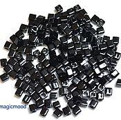 Материалы для творчества handmade. Livemaster - original item 10g 3 mm cube 401 Japanese Miyuki beads black opaque. Handmade.