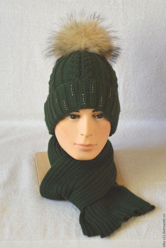 Шапки ручной работы. Ярмарка Мастеров - ручная работа. Купить Комплект шапка + шарф INVERNO  с меховым помпоном. Handmade.