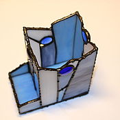 """Карандашницы ручной работы. Ярмарка Мастеров - ручная работа Карандашница  """"Синяя"""" стекло тиффани. Handmade."""