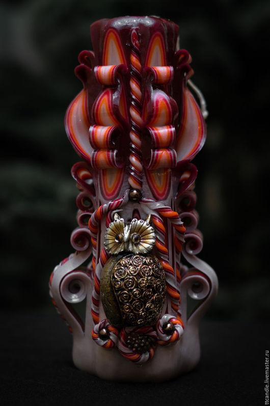Персональные подарки ручной работы. Ярмарка Мастеров - ручная работа. Купить Резная свеча «СОВА». Handmade. Бордовый, подарок начальнику