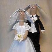 Куклы и игрушки ручной работы. Ярмарка Мастеров - ручная работа Зайчики свадебные.. Handmade.