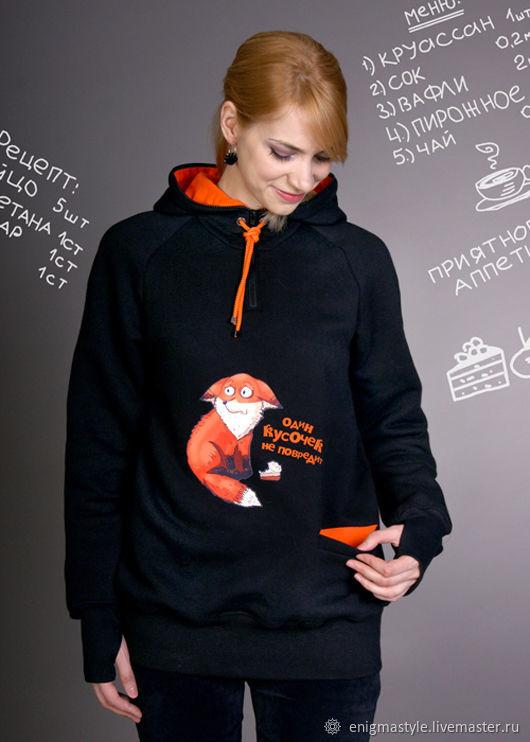 Women's hoodie loose, long black Fox hoodie, hoodie, Sweater Jackets, Novosibirsk,  Фото №1