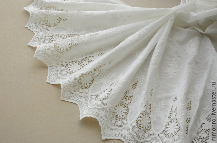 Very beautiful lace embroidery 100% cotton, Marquise, Lace, Podolsk,  Фото №1