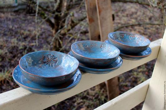 """Салатники ручной работы. Ярмарка Мастеров - ручная работа. Купить Набор из 3-х мисок и 3-х тарелок из керамики """"Синее утро"""". Handmade."""