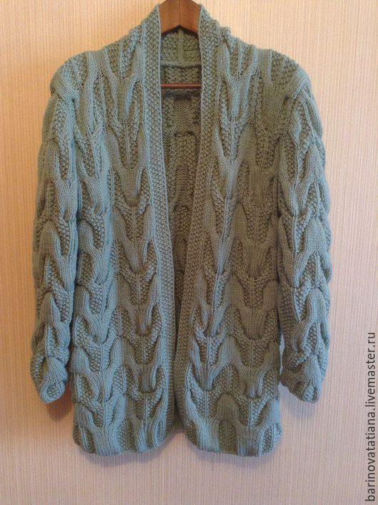 Кофты и свитера ручной работы. Ярмарка Мастеров - ручная работа. Купить Кардиган. Handmade. Бирюзовый, однотонный, кардиган вязаный