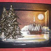 """Картины и панно ручной работы. Ярмарка Мастеров - ручная работа """"ночь""""-картина на коже. Handmade."""