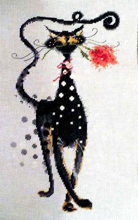 Пейзаж ручной работы. Ярмарка Мастеров - ручная работа. Купить кот Джаспер. Handmade. Чёрно-белый, кот, ткань, хлопок
