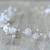 Украшения ручной работы. Ярмарка Мастеров - ручная работа Тиара, венок, диадема с кристаллами и с кружевными цветами. Handmade.