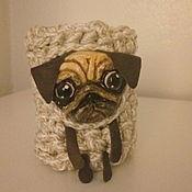 Канцелярские товары handmade. Livemaster - original item Desktop pen holder Pug Dog `Ralf`. Handmade.