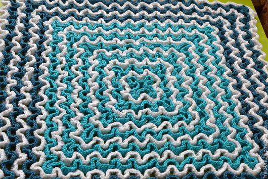 """Текстиль, ковры ручной работы. Ярмарка Мастеров - ручная работа. Купить Коврик в ванную """"Морская волна"""". Handmade. Бирюзовый, синий"""