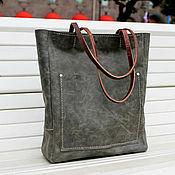 кожаная сумка зеленая женская сумка с карманом крейзи