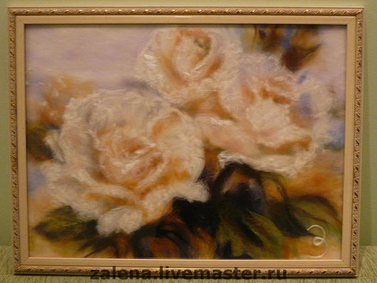 """Картины цветов ручной работы. Ярмарка Мастеров - ручная работа. Купить Картина """"Букет белых роз"""". Handmade. Картина из шерсти"""