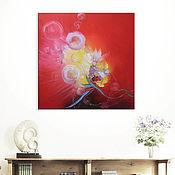 """Картины и панно ручной работы. Ярмарка Мастеров - ручная работа """"Red Valentine"""" 90х90 см большая картина маслом мастихином. Handmade."""