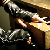 Аксессуары handmade. Livemaster - original item Stylish black leather fingerless gloves with zipper, unisex. Handmade.