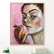 handmade. Livemaster - original item Girl and Apple, bedroom painting, oil on canvas. Handmade.
