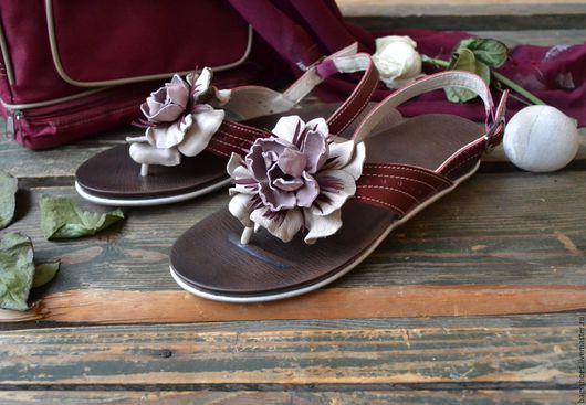 """Обувь ручной работы. Ярмарка Мастеров - ручная работа. Купить Обувь на лето """"Пион""""бордо. Handmade. Обувь на лето, цветок из кожи"""