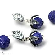 Украшения handmade. Livemaster - original item Cosmic Blueberry Lampwork Earrings. Handmade.