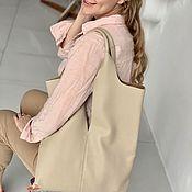 Сумка-шоппер ручной работы. Ярмарка Мастеров - ручная работа Бежевая сумка шоппер из натуральной кожи. Handmade.