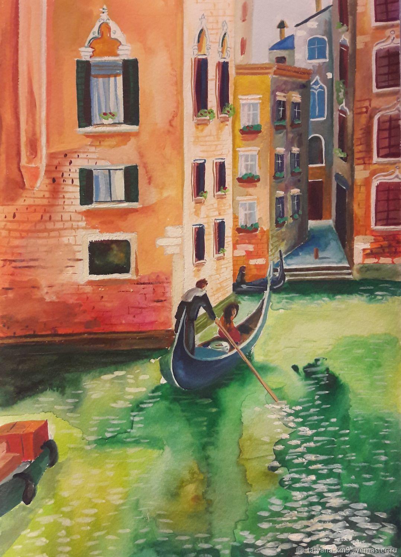 гандольер плывет по каналу в Венеции, Картины, Москва,  Фото №1