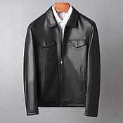 Мужская одежда handmade. Livemaster - original item Men`s outerwear: genuine leather jacket, black color. Handmade.