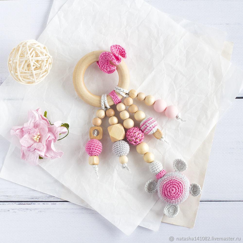 Игрушка-прорезыватель кольцо с черепахой розовый, Слингобусы, Вязьма, Фото №1