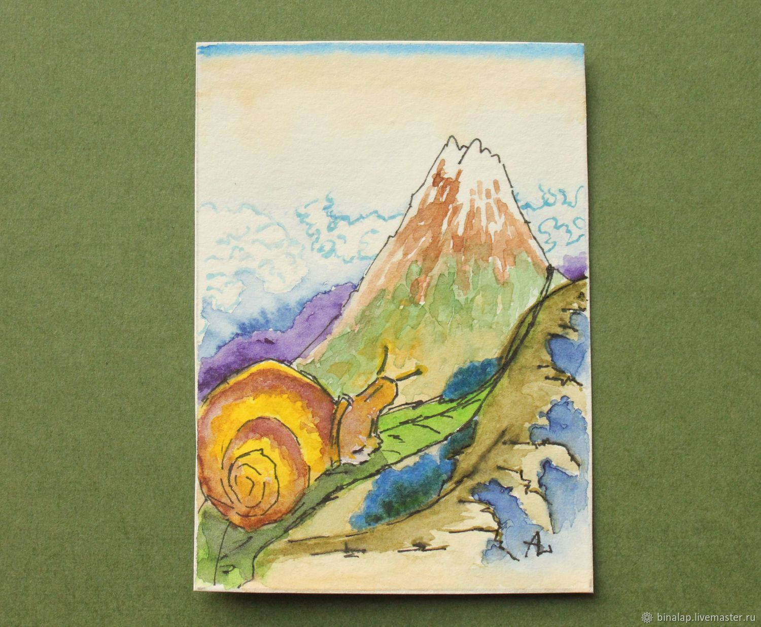 Miniature painting ' Snail on the slope of Fuji', Pictures, Moscow,  Фото №1