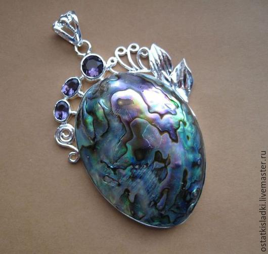 Для украшений ручной работы. Ярмарка Мастеров - ручная работа. Купить Кулон Гелиотис, очень крупный, кварцы (синт) серебрение. Handmade.