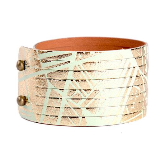 Браслеты ручной работы. Ярмарка Мастеров - ручная работа. Купить Кожаный браслет АВАНГАРД-15. Handmade. Мятный, браслет из кожи