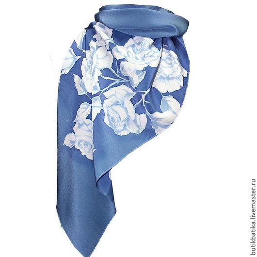 Шарфы и шарфики ручной работы. Ярмарка Мастеров - ручная работа. Купить Шелковый шарф батик Розы деним. Handmade. Синий