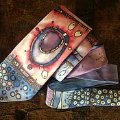 Аксессуары handmade. Livemaster - original item Pink and purple hand painted silk tie with ornaments art, blue dots. Handmade.