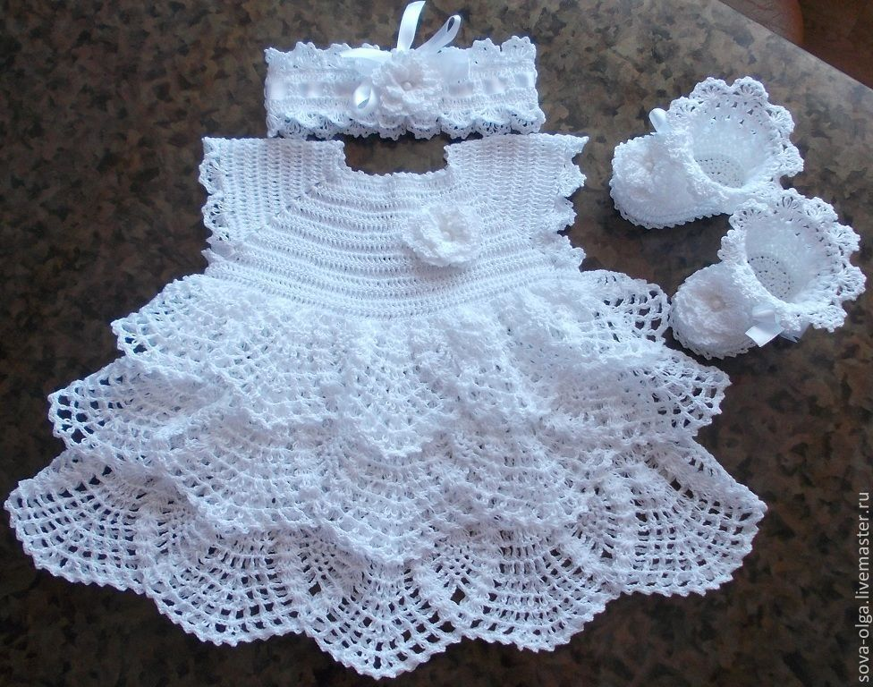 Вязанная платья новорожденному