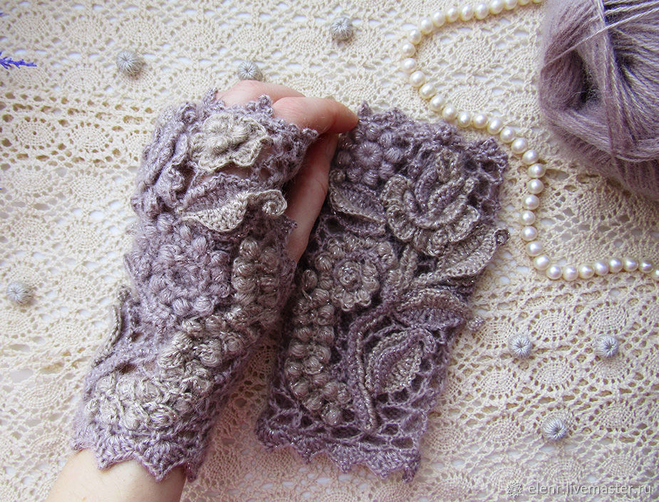 Irish lace. Mitts 'Wild rose', Mitts, Rybinsk,  Фото №1