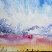 """Картины и панно ручной работы. Ярмарка Мастеров - ручная работа Картина акварелью """"Ах, это небо.."""". Handmade."""