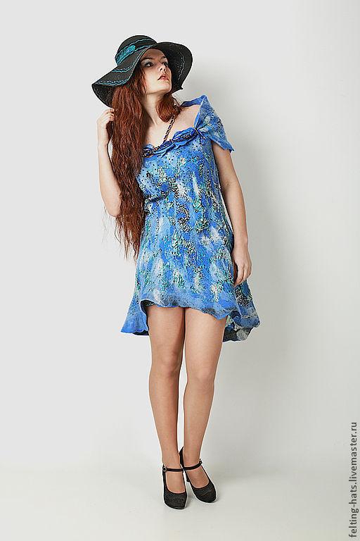 Платья ручной работы. Ярмарка Мастеров - ручная работа. Купить Эксклюзивное валяное платье из шерсти вечернее На Капри. Handmade.