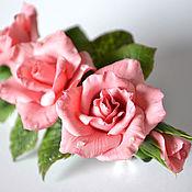 Украшения ручной работы. Ярмарка Мастеров - ручная работа Заколка-автомат с розами. Handmade.