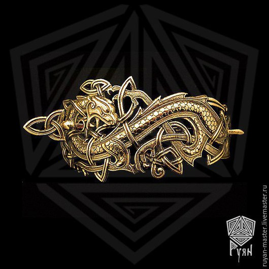 """Заколки ручной работы. Ярмарка Мастеров - ручная работа. Купить Заколка """"Кельтский дракон"""". Handmade. Серебряный, бронзовый, заколка для волос"""