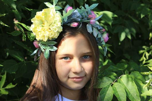 """Повязки ручной работы. Ярмарка Мастеров - ручная работа. Купить Украшение для фотосессии -  Венок """"Нежность"""". Handmade. Лимонный, цветы из ткани"""