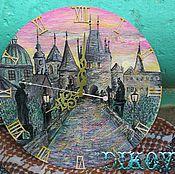 """Картины и панно ручной работы. Ярмарка Мастеров - ручная работа Картина-часы  """"Прага на рассвете"""". Handmade."""