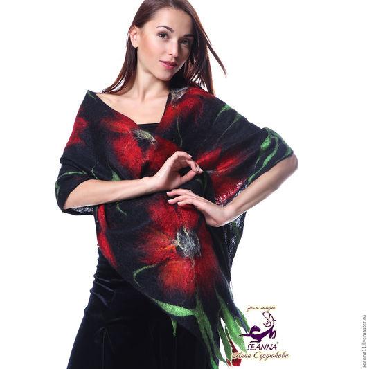 Дизайнер Анна Сердюкова. Палантин `Роскошные маки` валяный из шерсти, кашемира и шелка. Полностью ручная работа. Размер - 2 м. Цена - 9900 руб.