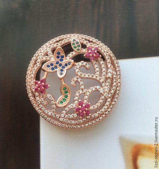 Коннектор крупный Бабочки цветочки розовое золото (Milano) Евгения (Lizzi-stones-2)