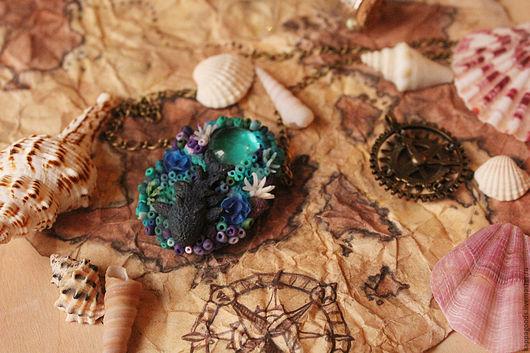 """Кулоны, подвески ручной работы. Ярмарка Мастеров - ручная работа. Купить Кулон """"Коралловый риф"""". Handmade. Тёмно-бирюзовый, океан"""