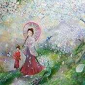 """Картины и панно ручной работы. Ярмарка Мастеров - ручная работа Картина """"В саду, где сакура цветёт...."""". Handmade."""