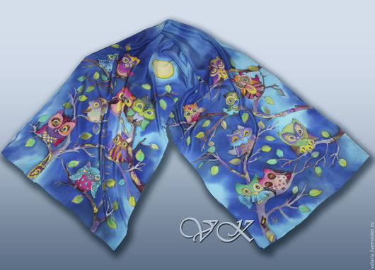 """Шарфы и шарфики ручной работы. Ярмарка Мастеров - ручная работа. Купить Батик шарф """" В тёмно-синем лесу """" (Совы). Handmade."""
