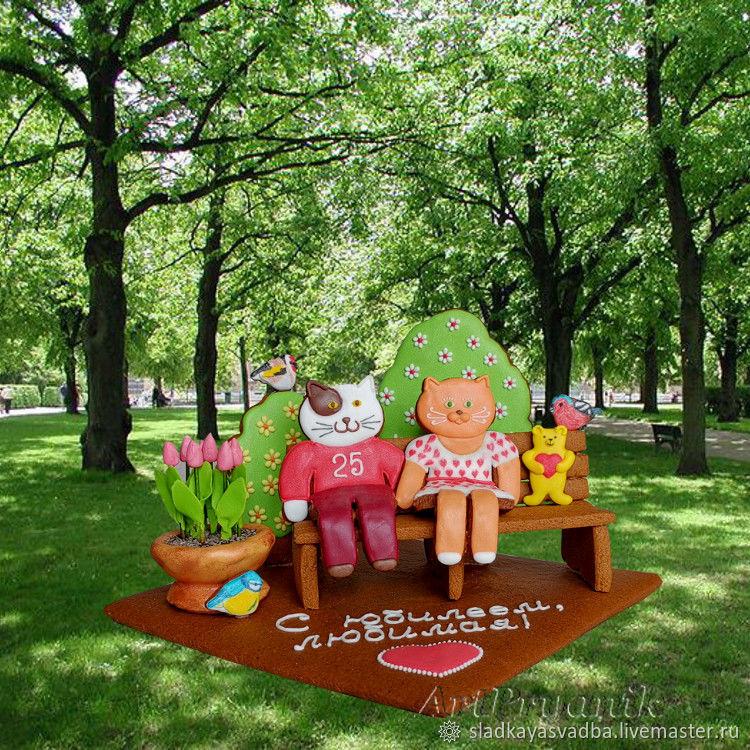 Влюбленные кот и кошка, подарок на юбилей, 3D-пряники, Набор пряников, Санкт-Петербург,  Фото №1